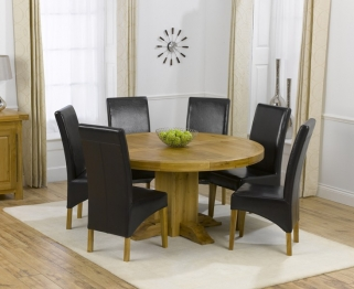 Mark Harris Turin Solid Oak 150cm Round Dining Set with 6 Roma Brown Dining Chairs