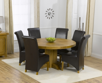Mark Harris Turin Solid Oak 150cm Round Dining Set with 6 Barcelona Brown Dining Chairs