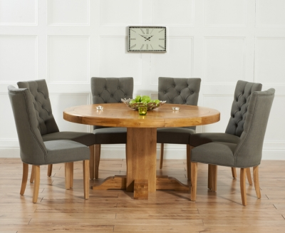 Mark Harris Turin Solid Oak Dining Set - 150cm Round with 4 Albury Grey Chairs