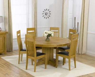Mark Harris Turin Oak Round Dining Table and 4 Monte Carlo Brown Chairs