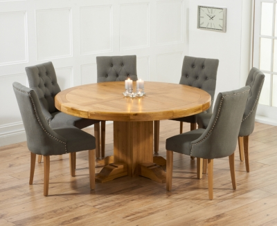 Mark Harris Turin Oak Round Dining Table and 4 Pailin Grey Chairs