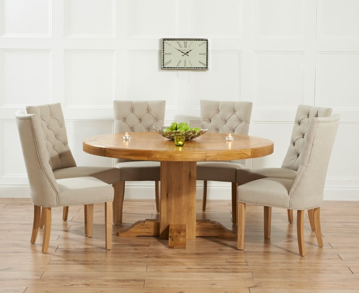 solid oak 150cm round dining set with 6 albury beige dining chairs