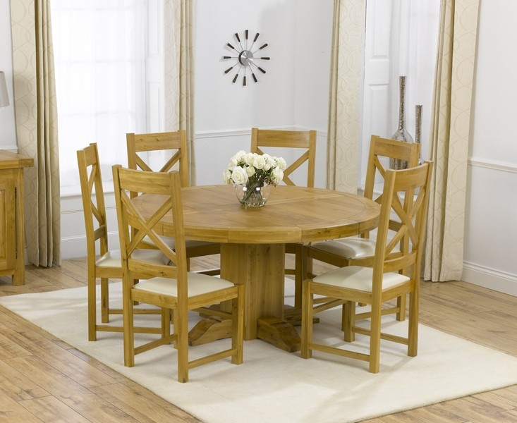 Mark Harris Turin Solid Oak 150cm Round Dining Table with 6 Canterbury Cream Chairs