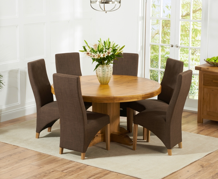 Mark Harris Turin Solid Oak 150cm Round Dining Set with 6 Harley Cinnamon Brown Dining Chairs