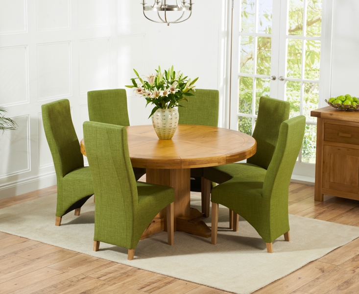 Mark Harris Turin Solid Oak 150cm Round Dining Table with 6 Harley Lime Chairs