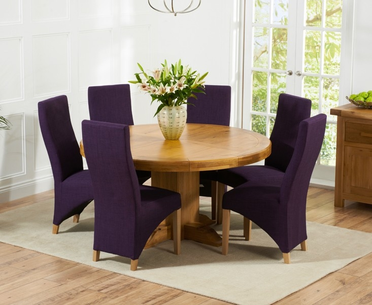 Mark Harris Turin Solid Oak 150cm Round Dining Table with 6 Harley Plum Chairs