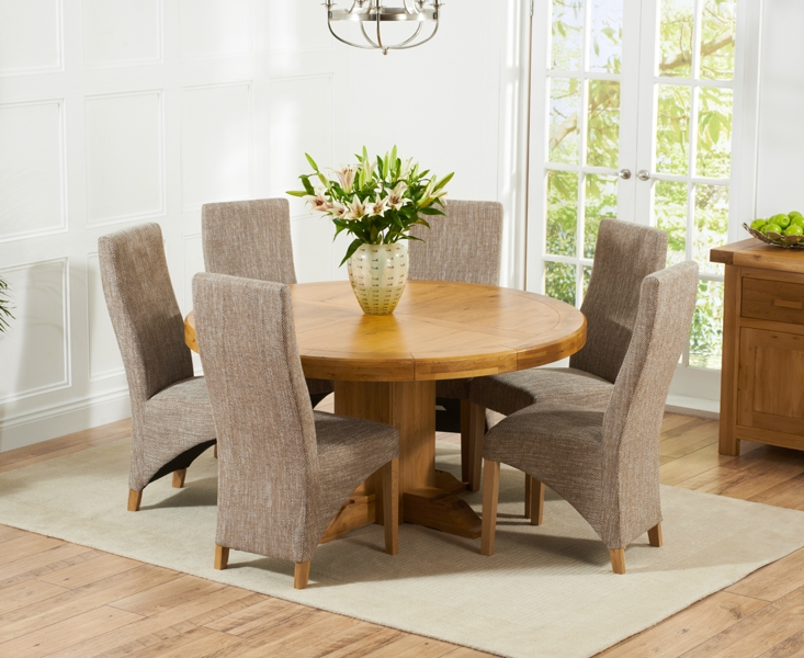 Mark Harris Turin Solid Oak 150cm Round Dining Table with 6 Harley Tweed Chairs