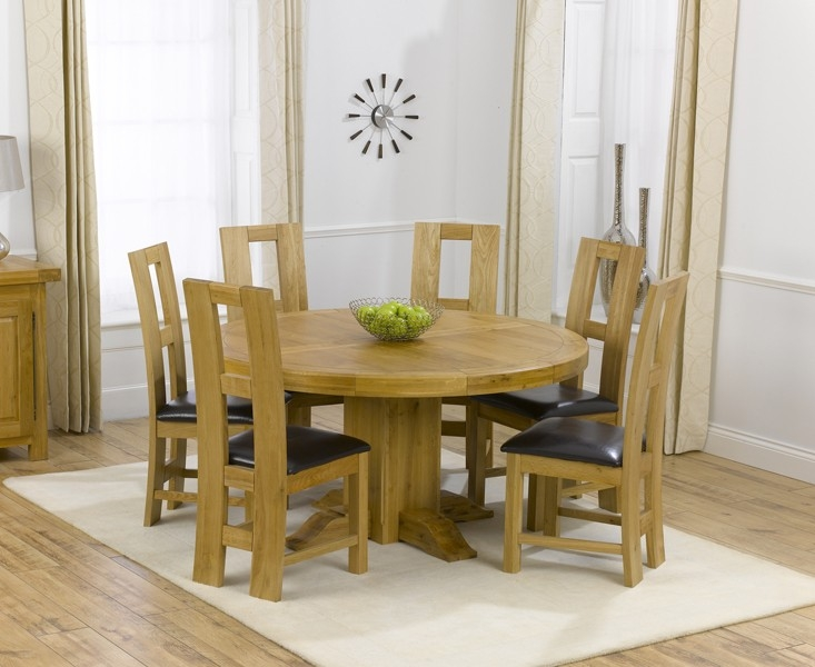 Mark Harris Turin Solid Oak 150cm Round Dining Set with 6 John Louis Brown Dining Chairs