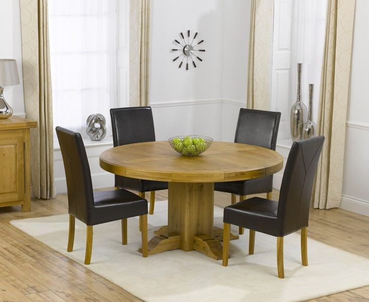 Mark Harris Turin Solid Oak 150cm Round Dining Table with 6 Rustique Brown Chairs
