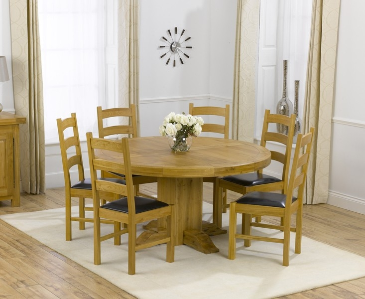 Mark Harris Turin Solid Oak 150cm Round Dining Table with 6 Valencia Brown Chairs