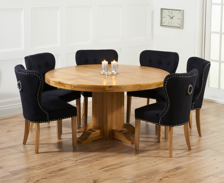 Mark Harris Turin Solid Oak Dining Set - 150cm Round with 4 Kalim Black Chairs