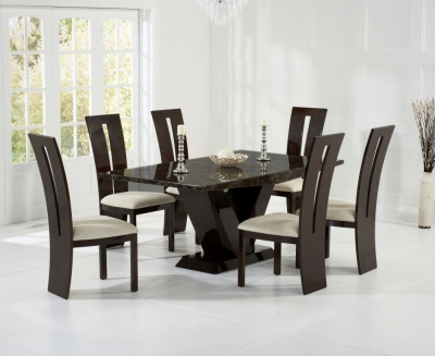 Mark Harris Valencie Brown Constituted Marble Dining Set with 6 Dining Chairs