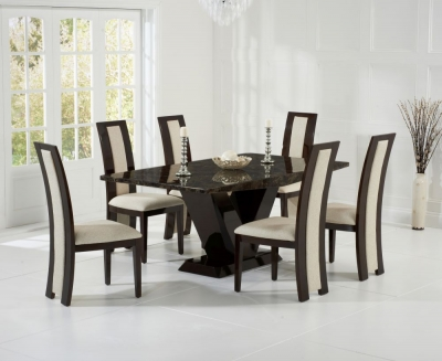 Mark Harris Valencie Brown Constituted Marble Dining Set with 6 Rivilino Brown Dining Chairs