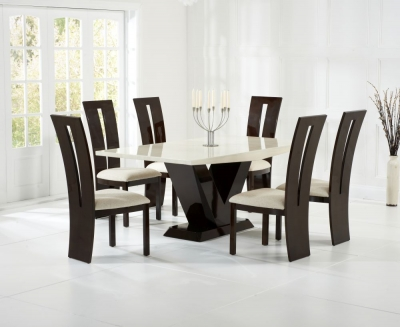 Mark Harris Valencie Cream and Brown Constituted Marble Dining Set with 6 Dining Chairs