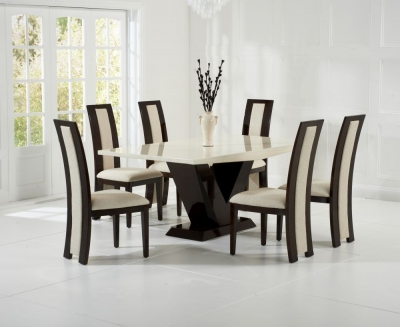 Mark Harris Valencie Cream and Brown Constituted Marble Dining Set with 6 Rivilino Brown Dining Chairs