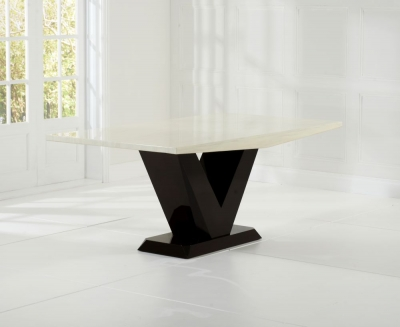 Mark Harris Valencie Cream and Brown Constituted Marble Dining Table