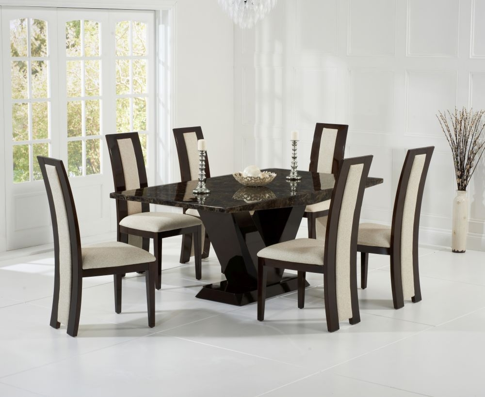 Mark Harris Valencie Brown Marble Dining Set - 180cm Rectangular with 4 Rivilino Chairs