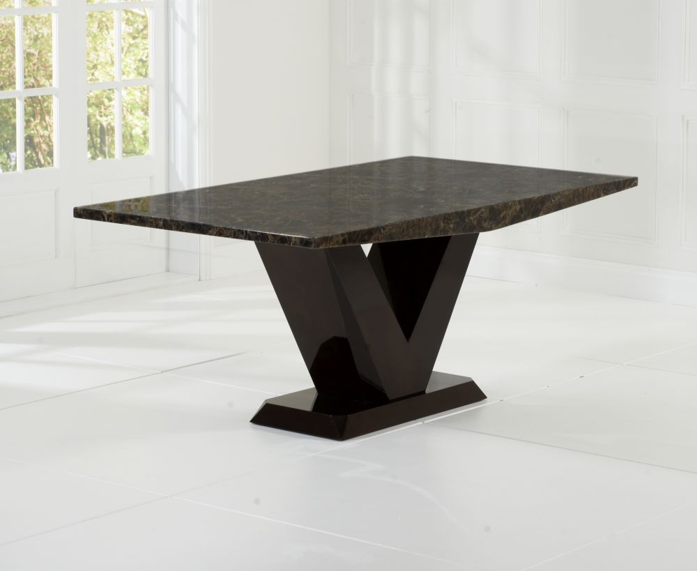 Mark Harris Valencie Brown Marble Dining Table - 180cm Rectangular