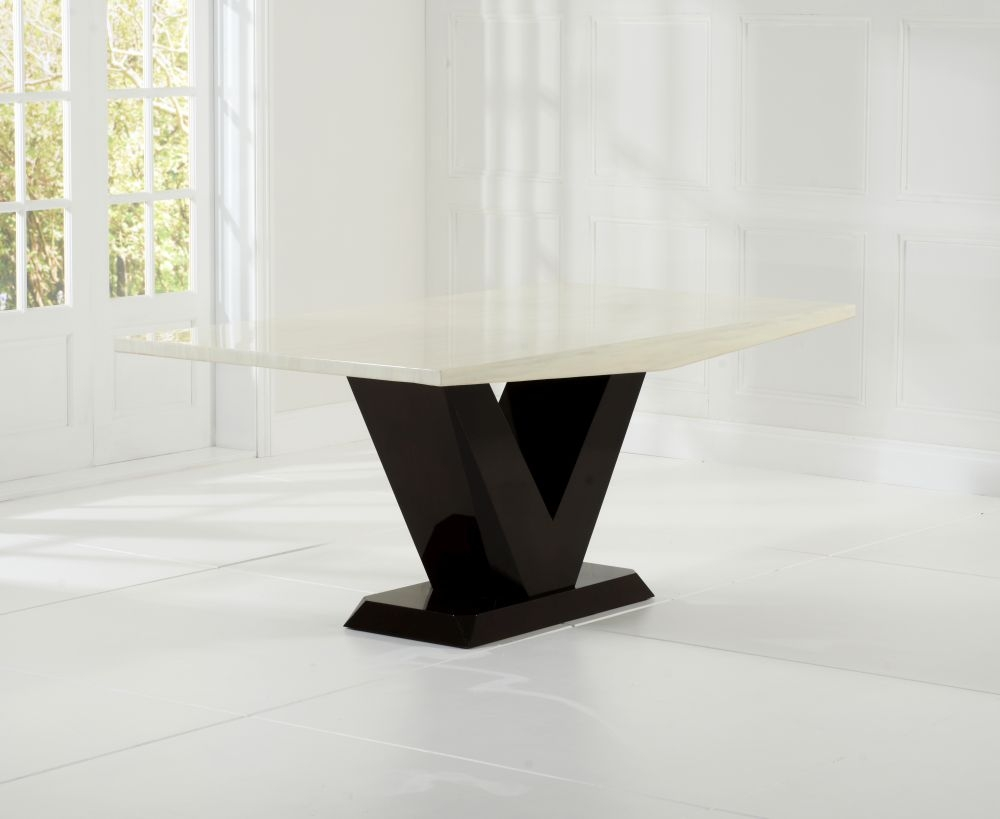 Mark Harris Valencie Cream and Brown Marble Dining Table - 180cm Rectangular