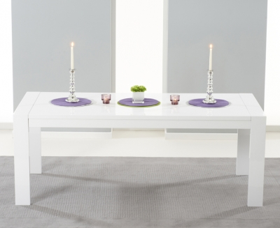 Mark Harris Venice White High Gloss Extending Dining Table