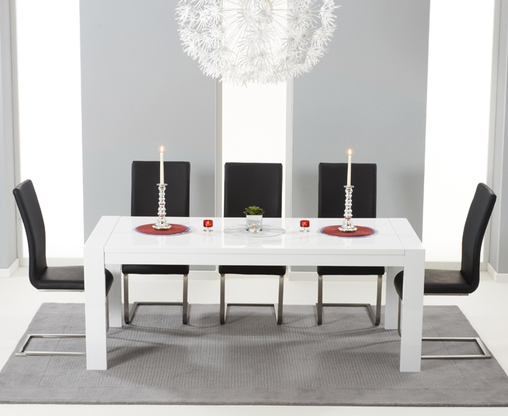 Mark Harris Venice White High Gloss Extending Dining Table And 6 Malibu Black Chairs Cfs Furniture Uk