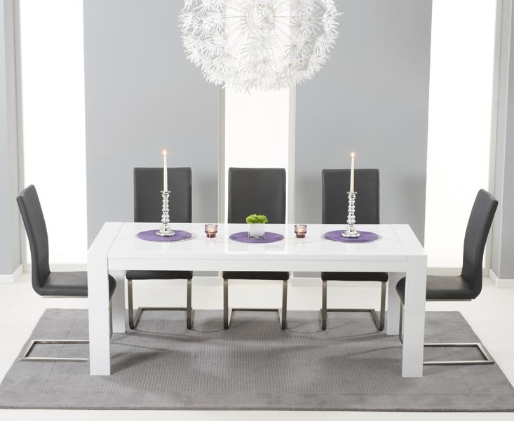 Mark Harris Venice White High Gloss Extending Dining Table And 6 Malibu Grey Chairs Cfs Furniture Uk