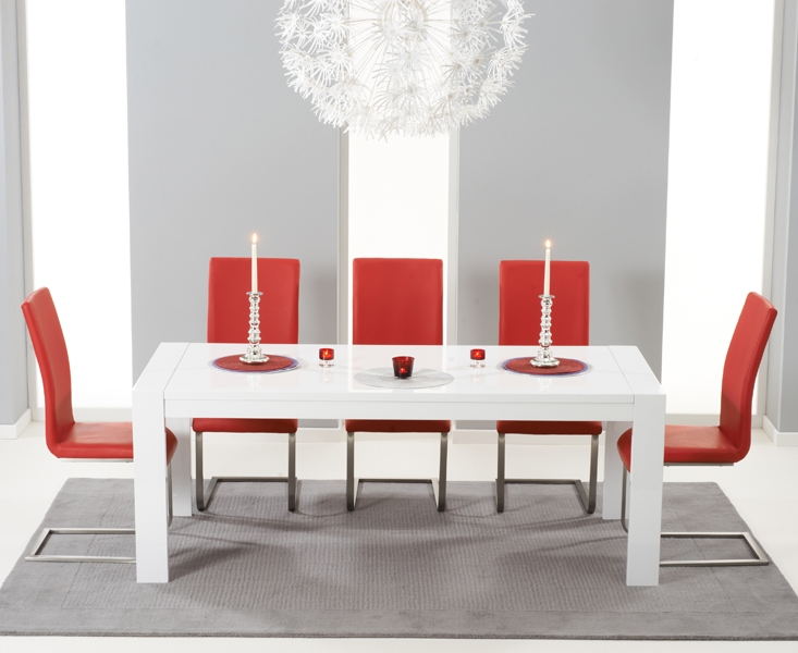 Mark Harris Venice White High Gloss Extending Dining Table And 6 Malibu Red Chairs Cfs Furniture Uk