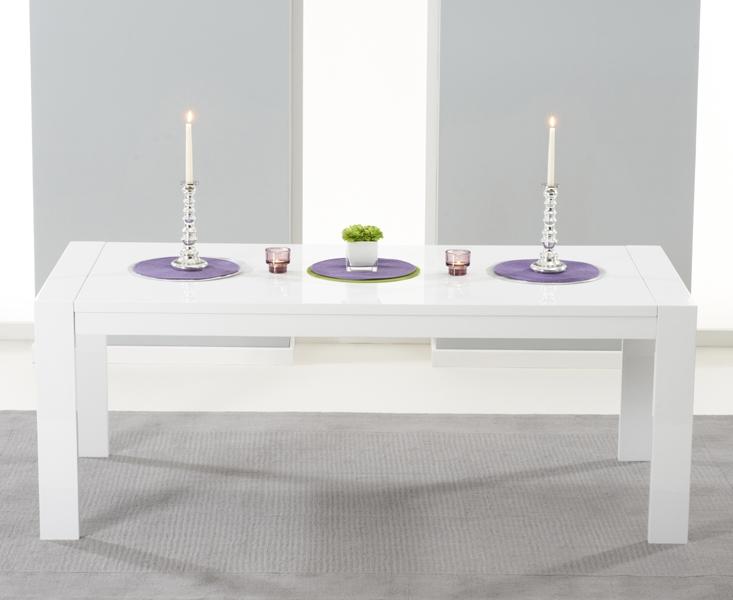 Mark Harris Venice White High Gloss Extending Dining Table