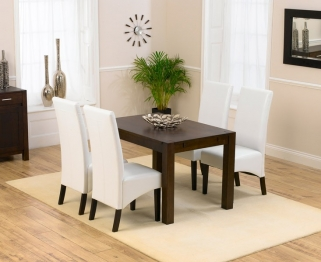 Mark Harris Verona Solid Dark Oak 120cm Dining Set with 4 Dakota Dark Ivory Dining Chairs