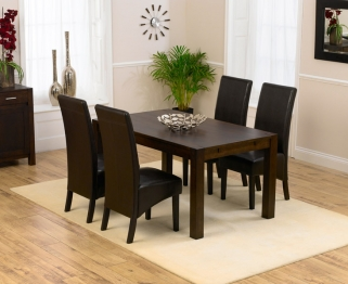 Mark Harris Verona Solid Dark Oak 150cm Dining Table with 4 Dakota Dark Brown Chairs