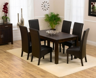 Mark Harris Verona Solid Dark Oak 150cm Dining Table with 6 Dakota Dark Brown Chairs