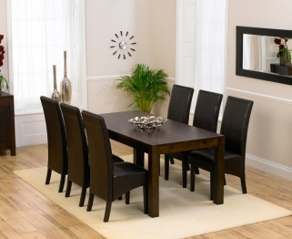 Mark Harris Verona Solid Dark Oak 180cm Dining Table with 6 Dakota Dark Brown Chairs