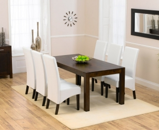 Mark Harris Verona Solid Dark Oak 180cm Dining Table with 6 Dakota Dark Ivory Chairs