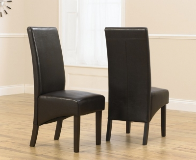Mark Harris Verona Solid Dark Oak Dining Chair - Brown Faux Leather (Pair)