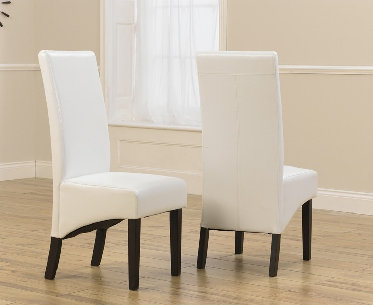 Mark Harris Verona Solid Dark Oak Dining Chair - Ivory Faux Leather (Pair)