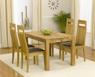 Mark Harris Verona Solid Oak 120cm Dining Table with 4 Monte Carlo Brown Chairs