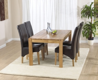 Mark Harris Verona Solid Oak 120cm Dining Table with 4 Roma Brown Chairs