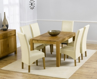Mark Harris Verona Solid Oak 150cm Dining Table with 6 Roma Cream Chairs