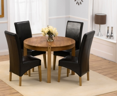 Mark Harris Verona Oak Round Dining Table and 4 Roma Brown Chairs