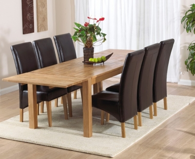 Mark Harris Verona Oak Large Extending Dining Table and 6 Roma Brown Chairs