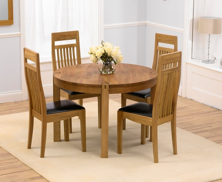 Mark Harris Verona Solid Oak 110cm Round Dining Set with 4 Monte Carlo Brown Dining Chairs