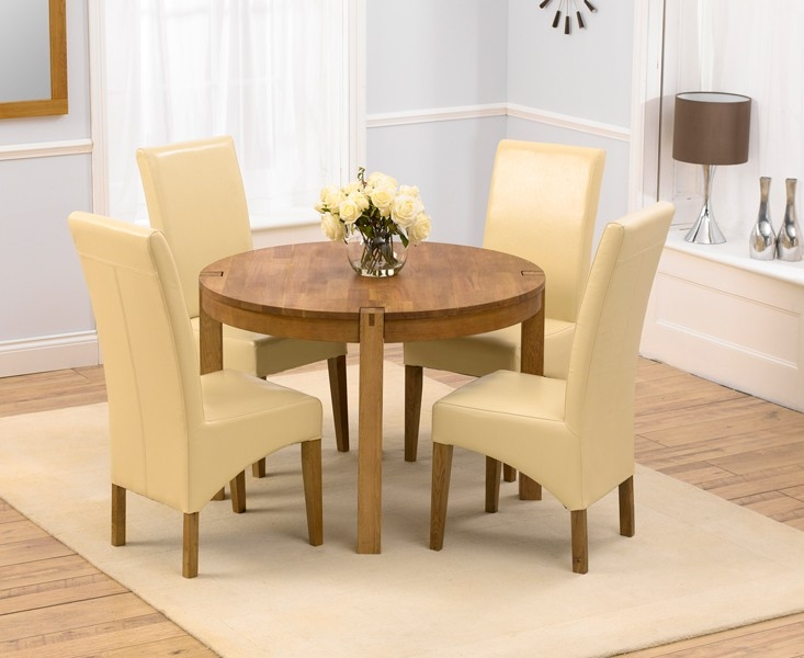 Mark Harris Verona Solid Oak 110cm Round Dining Table with 4 Roma Cream Chairs