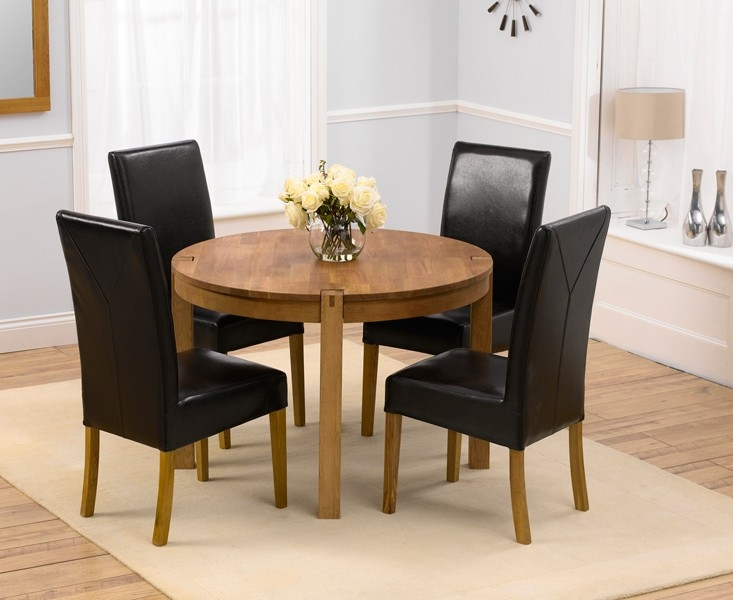 Mark Harris Verona Solid Oak 110cm Round Dining Table with 4 Rustique Brown Chairs