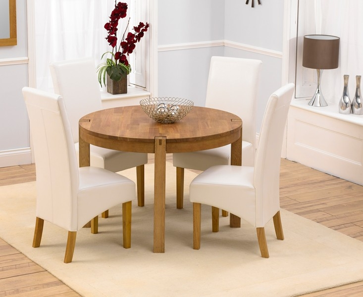 Mark Harris Verona Solid Oak 110cm Round Dining Set with 4 Venice Ivory Dining Chairs