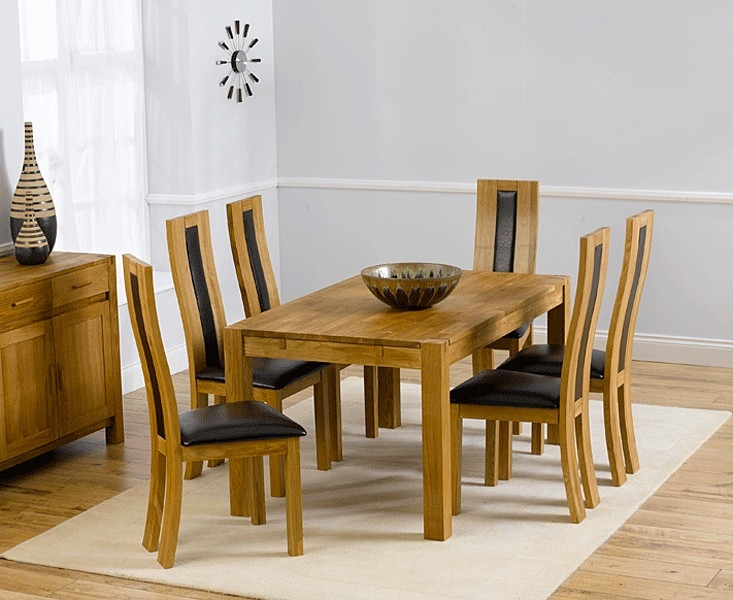 Mark Harris Verona Solid Oak 150cm Dining Set with 6 Havana Brown Dining Chairs