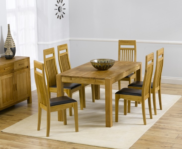 Mark Harris Verona Solid Oak 150cm Dining Table with 6 Monte Carlo Brown Chairs