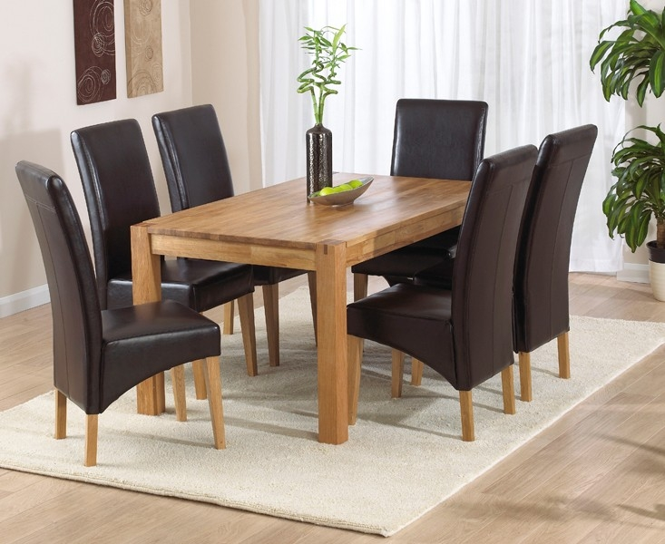 Mark Harris Verona Solid Oak 150cm Dining Table with 6 Venice Brown Chairs