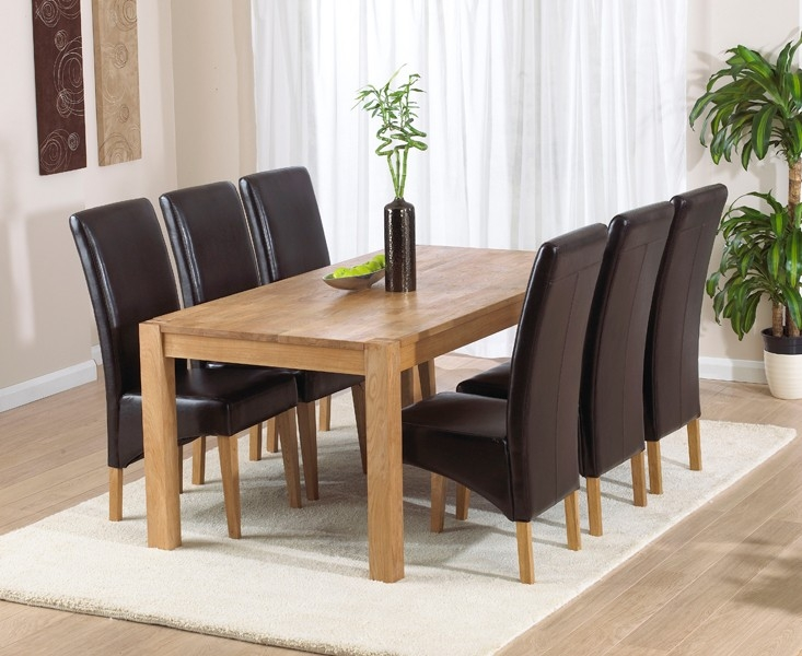 Mark Harris Verona Solid Oak 180cm Dining Table with 6 Roma Brown Chairs
