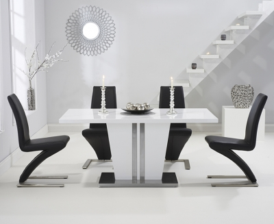 Mark Harris Vigo White High Gloss 160cm Dining Table with 4 Black Hereford Chairs