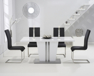 Mark Harris Vigo White High Gloss 160cm Dining Table with 4 Black Malibu Chairs
